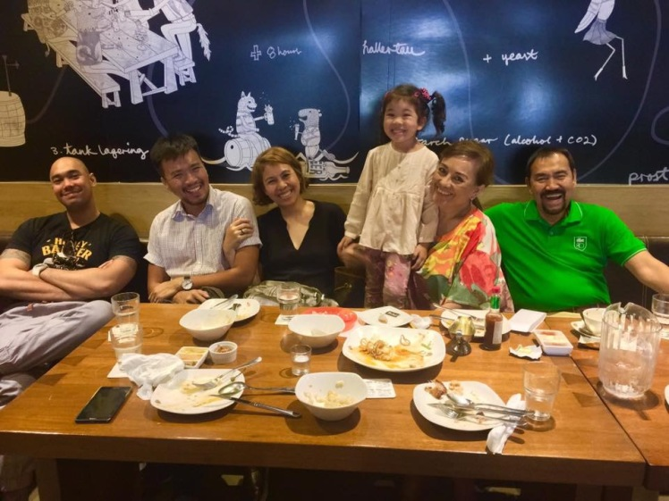Family lunch at Brotzeit German restaurant in Glorietta
